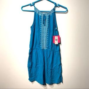 amy byer girls teal romper size large 14